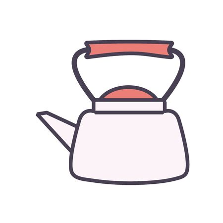 tea or coffee kettle line and fill style icon design, kitchen cook eat food restaurant home menu dinner lunch cooking and meal theme Vector illustration Illustration