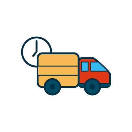 clock and cargo truck icon over white background, line and fill style, vector illustration