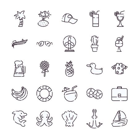 line style icon set design, Summer vacation tropical relaxation outdoor nature tourism relax lifestyle and paradise theme Vector illustration Çizim