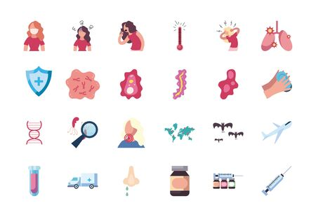 handwashing and Covid19 concept icon set over white background, flat style, vector illustration
