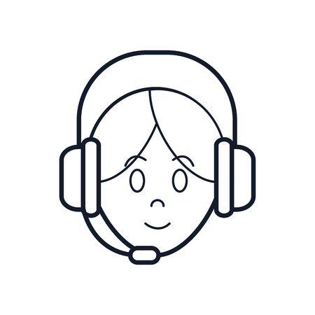 Operator woman with headphone icon over white background, line style, vector illustration Ilustração