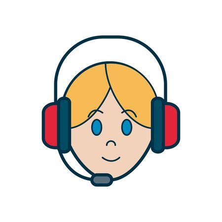 Operator woman with headphone icon over white background, line and fill style, vector illustration Ilustração