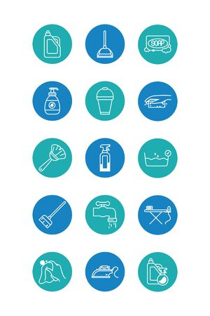 broom and cleaning elements icon set over white background, block style, vector illustration Vektorgrafik
