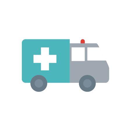 ambulance icon over white background, flat style, vector illustration Ilustração