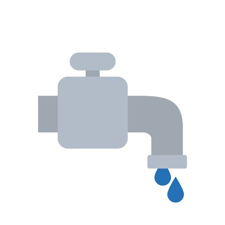water faucet and drops icon over white background, flat style, vector illustration Illustration