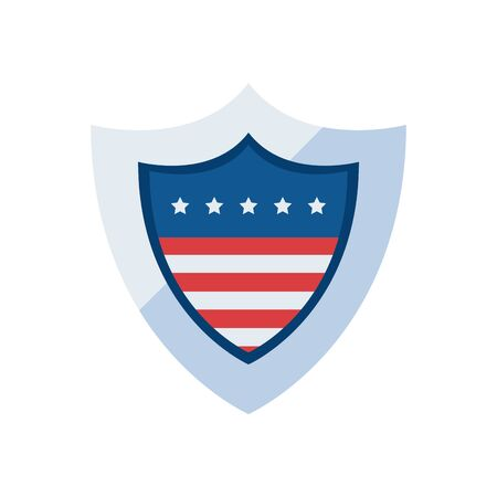 Usa shield fill style icon design, United states america independence day nation us country and national theme Vector illustration