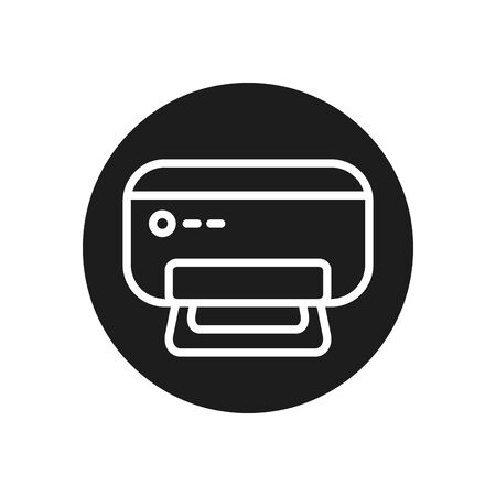 Printer line block style icon design, Data archive storage organize business office and information theme Vector illustration  イラスト・ベクター素材