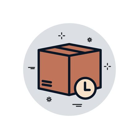 Box and clock fill block style icon design, Delivery logistics transportation shipping service warehouse industry and global theme Vector illustration 向量圖像