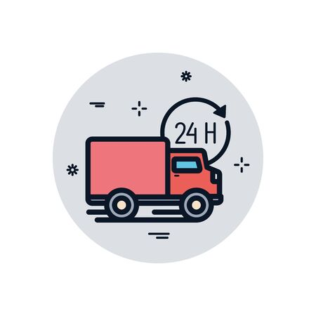 truck and 24 hours arrow fill block style icon design, Delivery logistics transportation shipping service warehouse industry and global theme Vector illustration 向量圖像