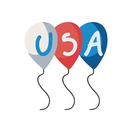 Usa balloons fill style icon design, United states america independence day nation us country and national theme Vector illustration