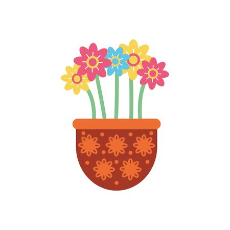 flowers inside pot flat style icon design, natural floral nature plant ornament garden decoration and botany theme Vector illustration