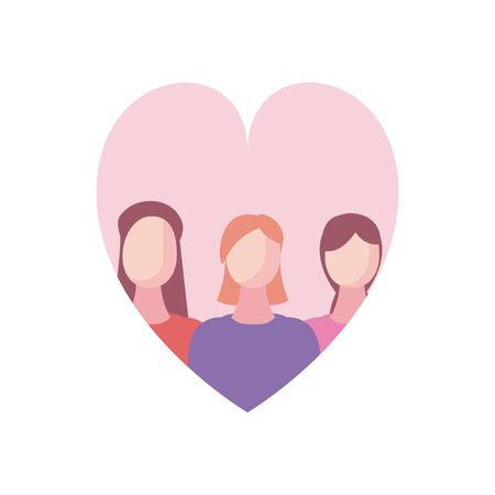 women avatars inside heart fill style icon design, Woman girl female person people human and social media theme Vector illustration Standard-Bild - 143295359