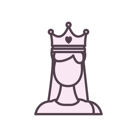 Avatar woman with crown line style icon design, Girl female person people human and social media theme Vector illustration Standard-Bild - 143298051