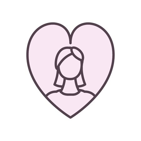 Avatar woman inside heart line style icon design, Girl female person people human and social media theme Vector illustration