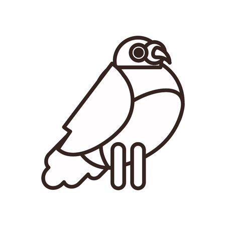 Cute bird cartoon line style icon design, Animal zoo life nature character childhood and adorable theme Vector illustration 向量圖像
