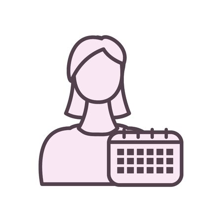 Avatar woman with calendar line style icon design, Girl female person people human and social media theme Vector illustration