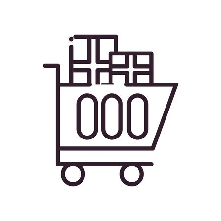 Gifts inside cart line style icon design, happy birthday celebration decoration party festive and surprise theme Vector illustration