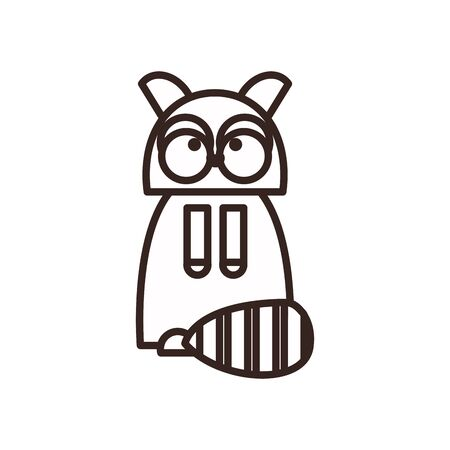 Cute raccoon cartoon line style icon design, Animal zoo life nature character childhood and adorable theme Vector illustration