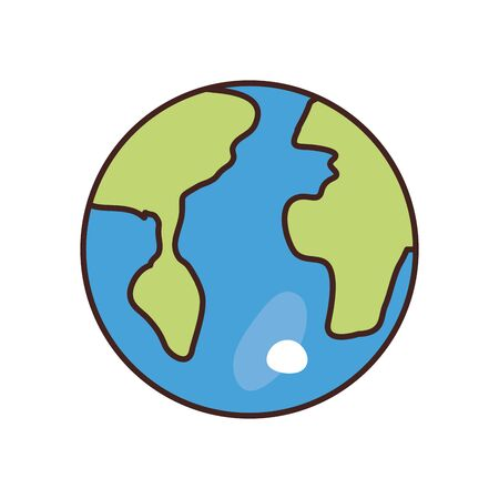 World sphere fill style icon design, Planet continent earth globe ocen sea universe science and map theme Vector illustration