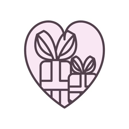 Gifts inside heart line style icon design, happy birthday celebration decoration party festive and surprise theme Vector illustration