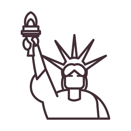 Usa liberty statue line style icon design, United states america independence day nation us country and national theme Vector illustration