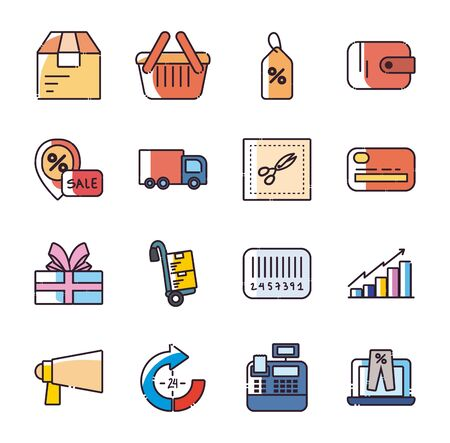 Shopping fill style icon set design of Commerce market store shop retail buy paying banking and consumerism theme Vector illustration