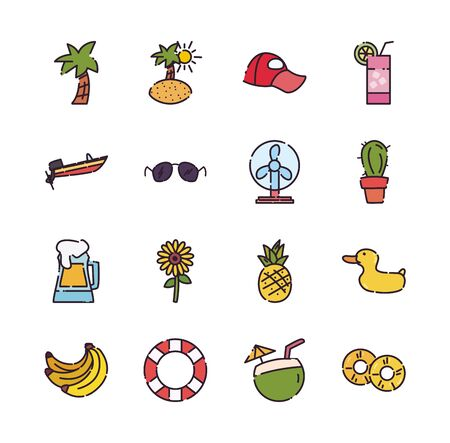fill style icon set design, Summer vacation tropical relaxation outdoor nature tourism relax lifestyle and paradise theme Vector illustration Иллюстрация
