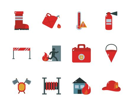 flat style icon set design, fire emergency rescue save department 911 danger help safety and aid theme Vector illustration Vettoriali