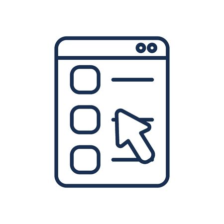 web page with cursor icon over white background, line style, vector illustration