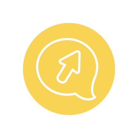 speech bubble with cursor icon over white background, line block style, vector illustration Stock Illustratie