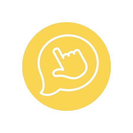speech bubble with hand cursor icon over white background, line block style, vector illustration