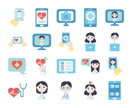 cartoon doctors and health online icon set over white background, flat style, vector illustration Vector Illustration