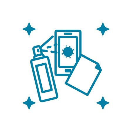 cellphone with disinfictant spray icon over white background, line style, vector illustration