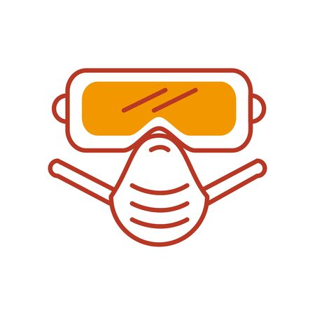 safety goggles and mouth mask icon over white background, half line half color style vector illustration