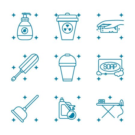 soap and cleaning elements icon set over white background, line style, vector illustration