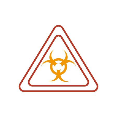 biohazard sign icon over white background, half line half color style vector illustration