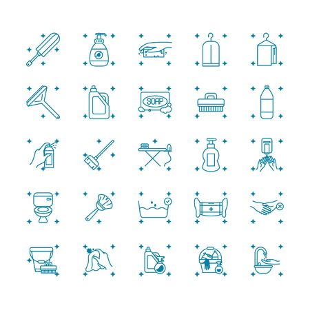 faucet and cleaning tools icon set over white background, line style, vector illustration