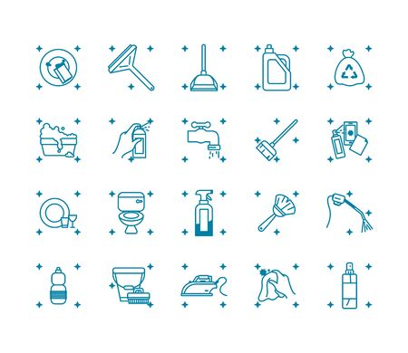 detergent bottle and cleaning tools icon set over white background, line style, vector illustration