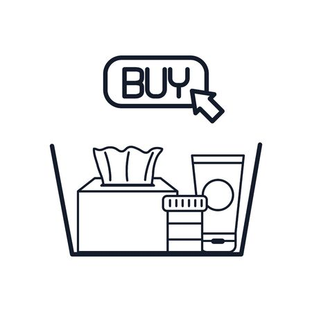 shopping online concept, basket with medicine pills and higyene products and buy button icon over white background, line style, vector illustration