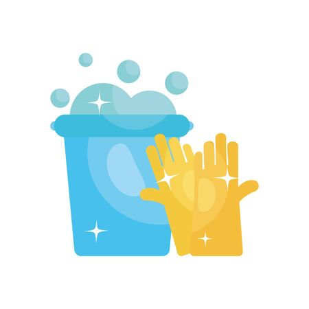 cleaning gloves and bucket with soapy water over white background, flat style, disinfection and cleaning elements, vector illustration