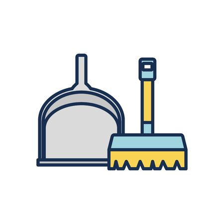 brush and dust icon over white background, line fill style, disinfection and cleaning elements, vector illustration