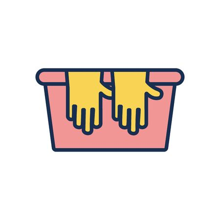 bucket and cleaning gloves icon over white background, line fill style, vector illustration