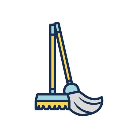 broom and mop icon over white background, line fill style, disinfection and cleaning elements, vector illustration