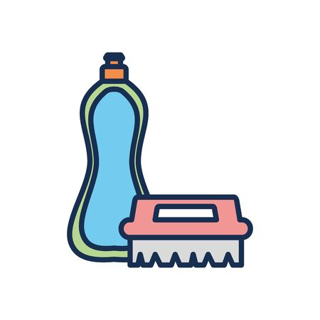 dishwasher soap bottle and brush icon over white background, line fill style, disinfection and cleaning elements, vector illustration