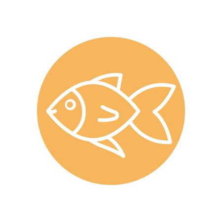 Fish line block style icon design Sea life ecosystem fauna ocean underwater water nature marine tropical theme Vector illustration 向量圖像