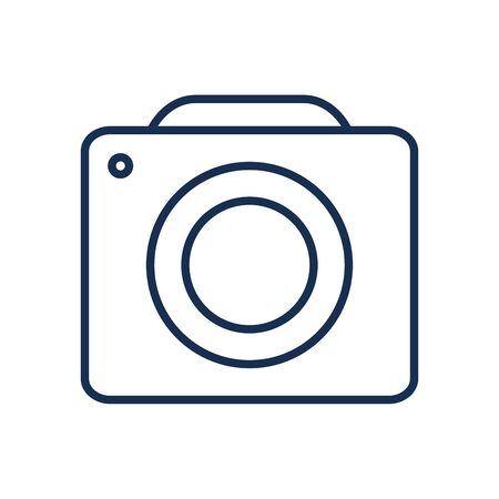 Camera device line style icon design, Gadget technology photography equipment digital photo focus and electronic theme Vector illustration Banque d'images - 143583718