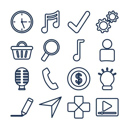line style icon set design, Social media apps multimedia communication digital marketing internet web and connect theme Vector illustration