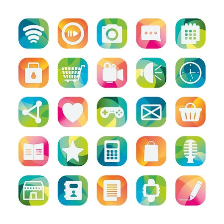 block flat style icon set design, Social media apps multimedia communication digital marketing internet web and connect theme Vector illustration