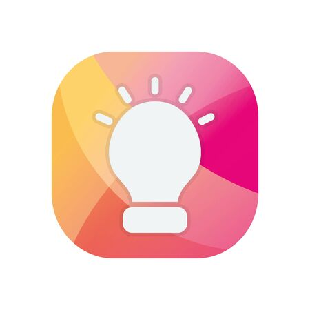 Light bulb block flat style icon design, Energy power technology electricity illumination and innovation theme Vector illustration