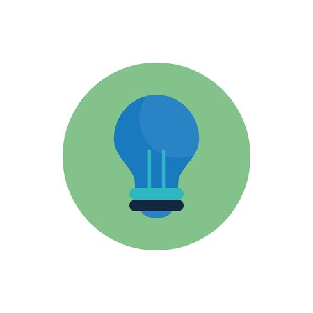 Light bulb flat block style icon design, Energy power technology electricity illumination and innovation theme Vector illustration 向量圖像